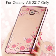 Auora Flower Crystals for Galaxy A7 2017 Back Cover Rose Gold